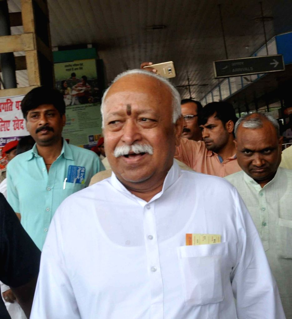 RSS chief Mohan Bhagwat arrives in Patna on May 22, 2018.