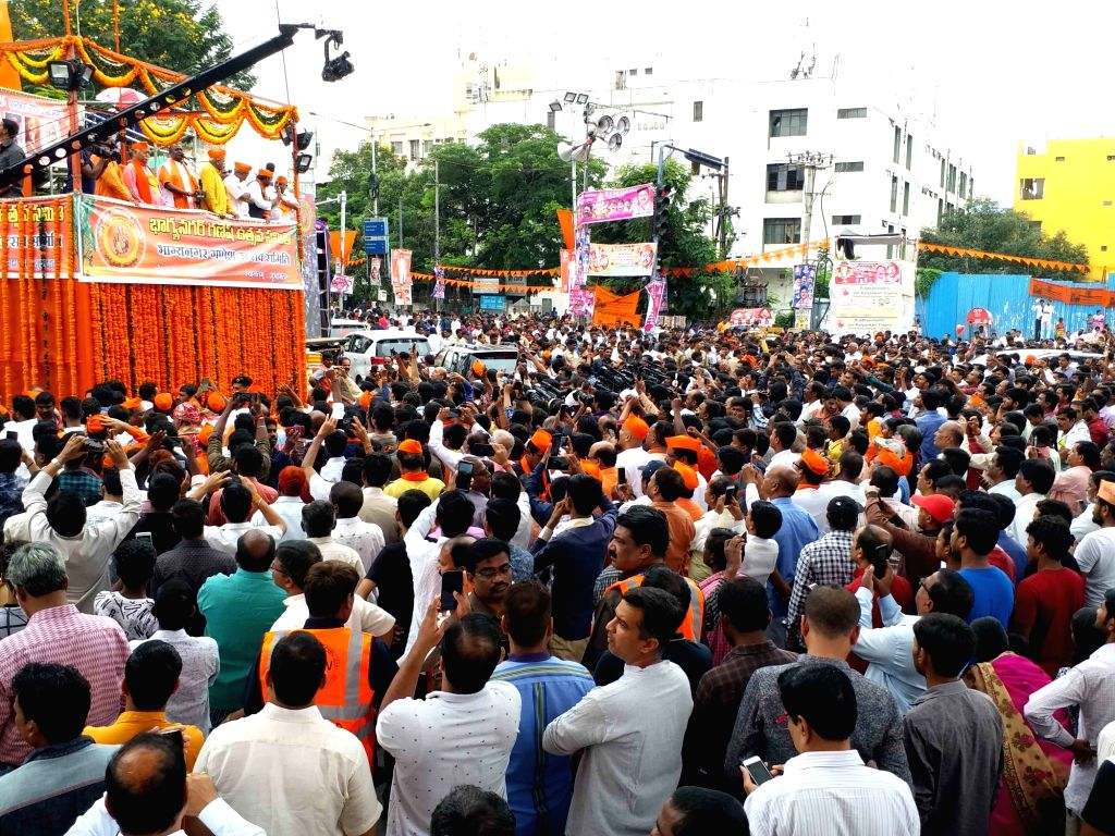 RSS chief Mohan Bhagwat during a public meeting of Ganesh Immersion procession in Hyderabad on Sep 12, 2019.