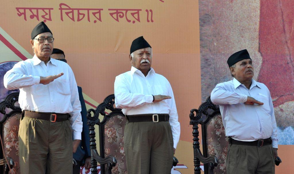 RSS chief Mohan Bhagwat during a rally organsied on Makar Sankranti at Brigade Parade Ground in Kolkata on Jan 14, 2017.