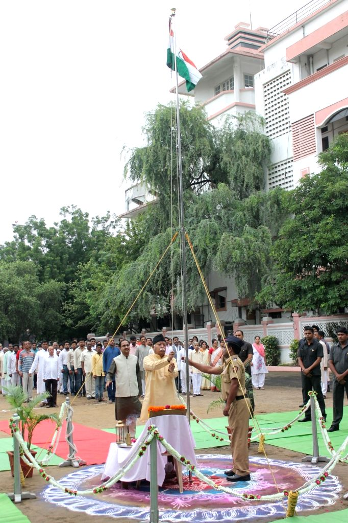 RSS chief Mohan Bhagwat hoists the national flag at RSS  Headquarters on Independence Day in Nagpur on Aug 15, 2016.