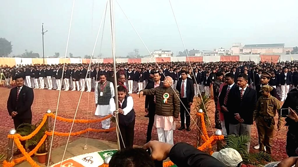 RSS chief Mohan Bhagwat hoists the national flag on the occasion of India's 71st Republic Day in Gorakhpur on Jan 26, 2020.