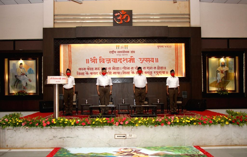 RSS Chief Mohan Bhagwat performs Shastra Pooja at RSS Headquarters in Nagpur on Oct 25, 2020.