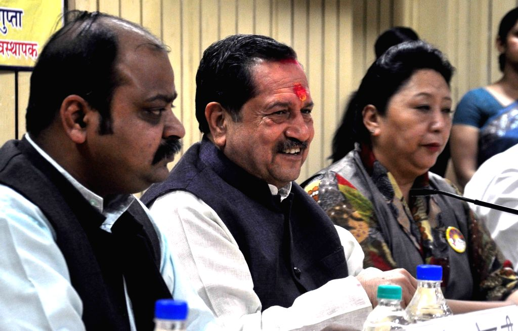 RSS leader Indresh Kumar (C) addresses during a press seminar at the Indian Law Institute in New Delhi on March 10, 2017. - Indresh Kumar