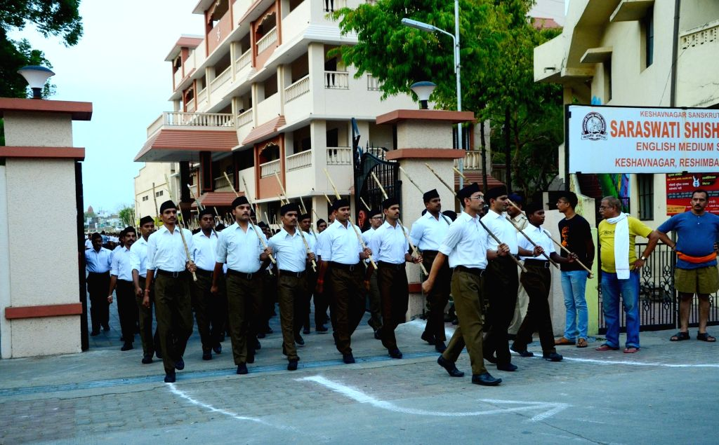 RSS volunteers participate in a route march in Nagpur, on June 3, 2019.