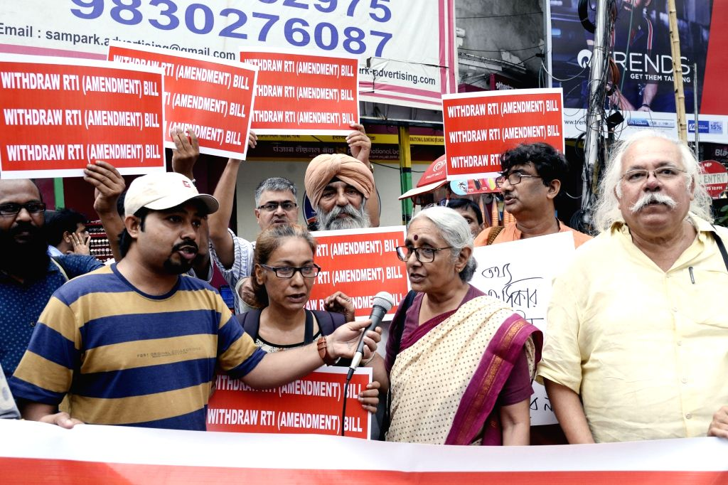 RTI activist Aruna Roy participates in a demonstration against the RTI (Amendment) Bill 2019 which was passed by the Lok Sabha on Monday but is yet to be passed in the Rajya Sabha; in ... - Aruna Roy