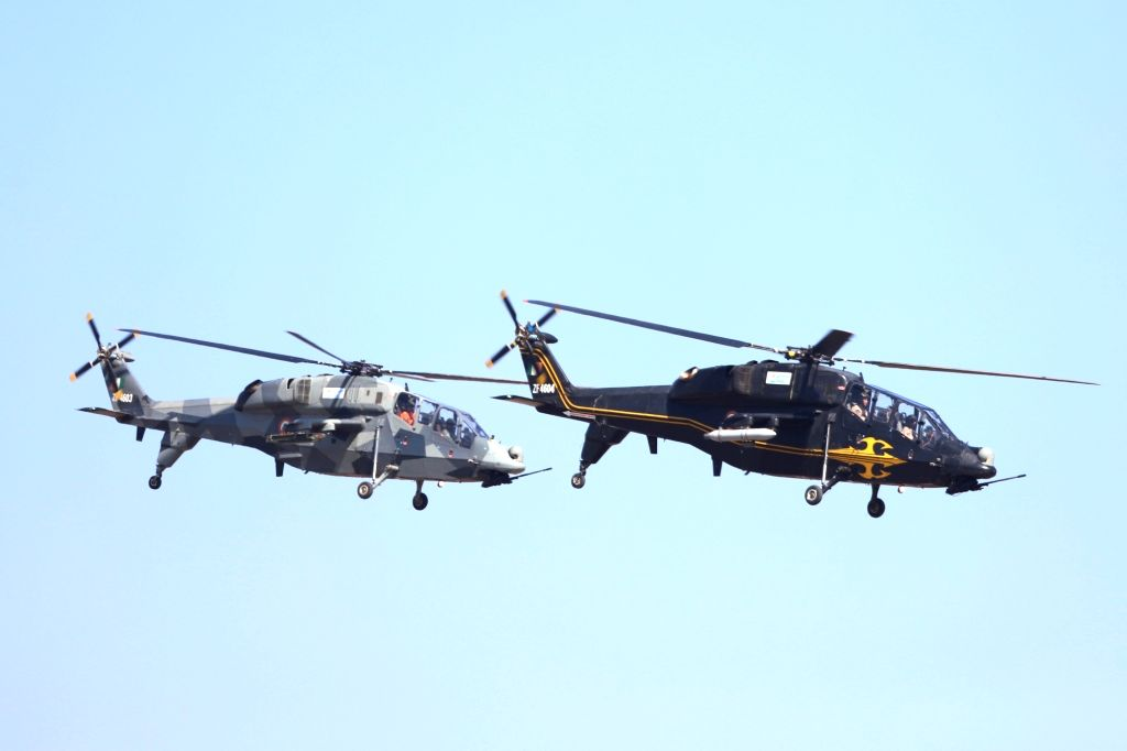 Rudra helicopters during rehearsals for AERO India 2019 at Air Force Station Yelahanka in Bengaluru on Feb 18, 2019.