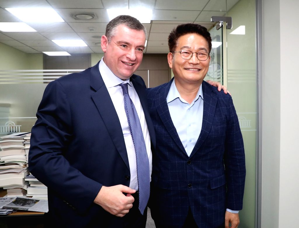 Ruling party lawmaker Song Young-gil (R) meets Leonid Slutsky, chairman of the international affairs committee of the Russian parliament's lower house, in Seoul on July 30, 2018. Song, until ...