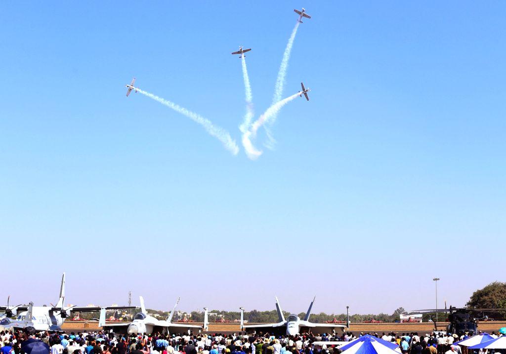 "Russian aerobatic team Yakovlevs enthralls the audience at ""Aero India 2019"" - air wshow at Yelahanka Air Force Station, in Bengaluru, on Feb 22, 2019."