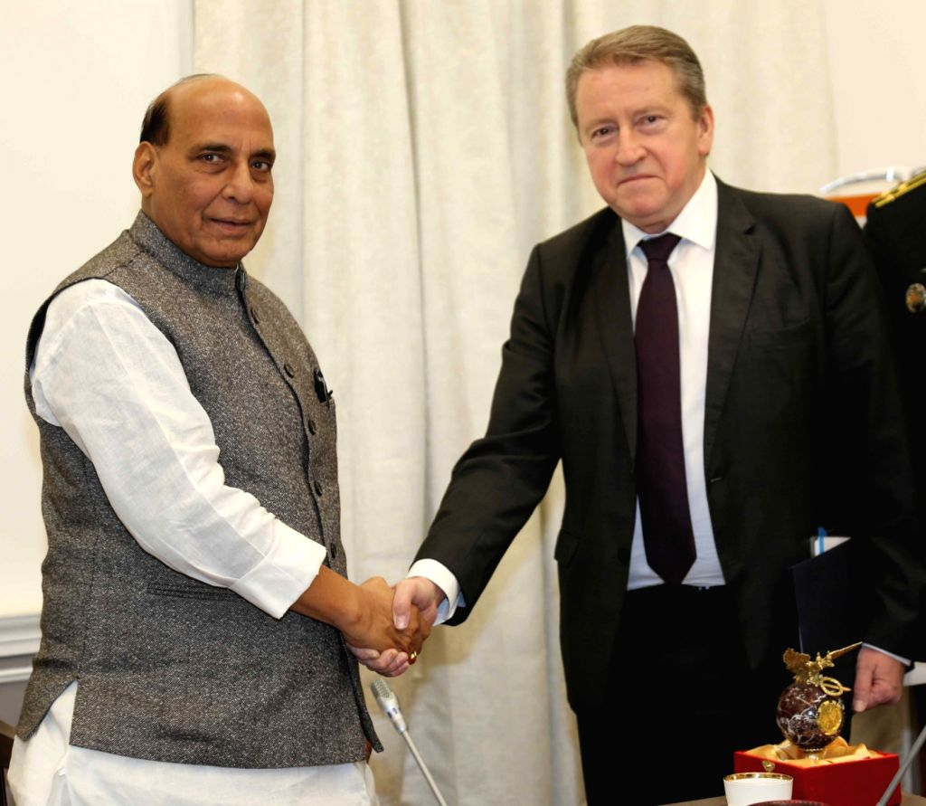 Russian Ambassador to India Nikolay Rishatovich Kudashev calls on the Union Defence Minister Rajnath Singh, in New Delhi on Dec 4, 2019. - Rajnath Singh