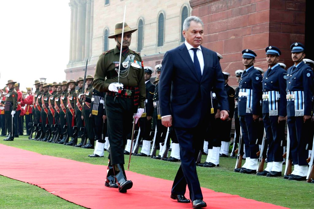 Russian Defence Minister General Sergei Shoigu inspects the Guard of Honour, at South Block in New Delhi, on Dec 13, 2018. - General Sergei Shoigu
