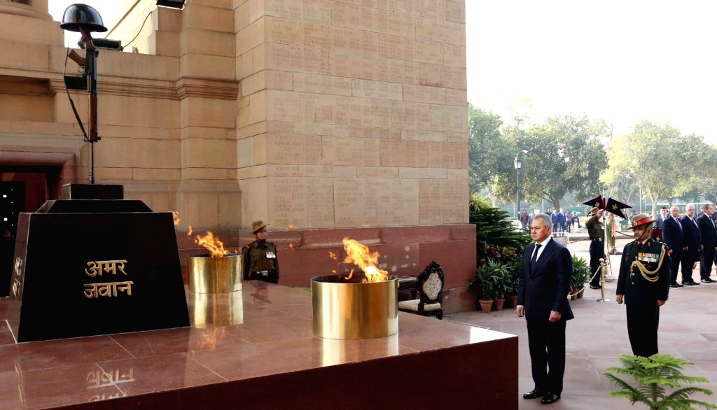 Russian Defence Minister General Sergei Shoigu pays homage to martyrs, at Amar Jawan Jyoti, India Gate, in New Delhi, on Dec 13, 2018. - General Sergei Shoigu