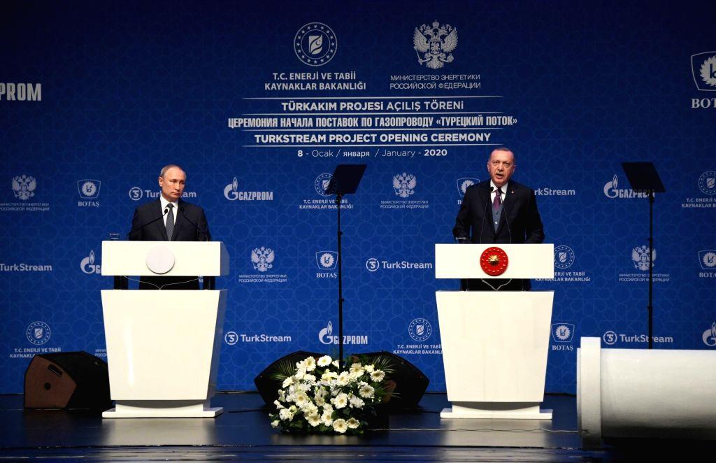 Russian President Vladimir Putin (L) and Turkish President Recep Tayyip Erdogan attend the inauguration ceremony of the TurkStream project in Istanbul, Turkey, Jan. ...