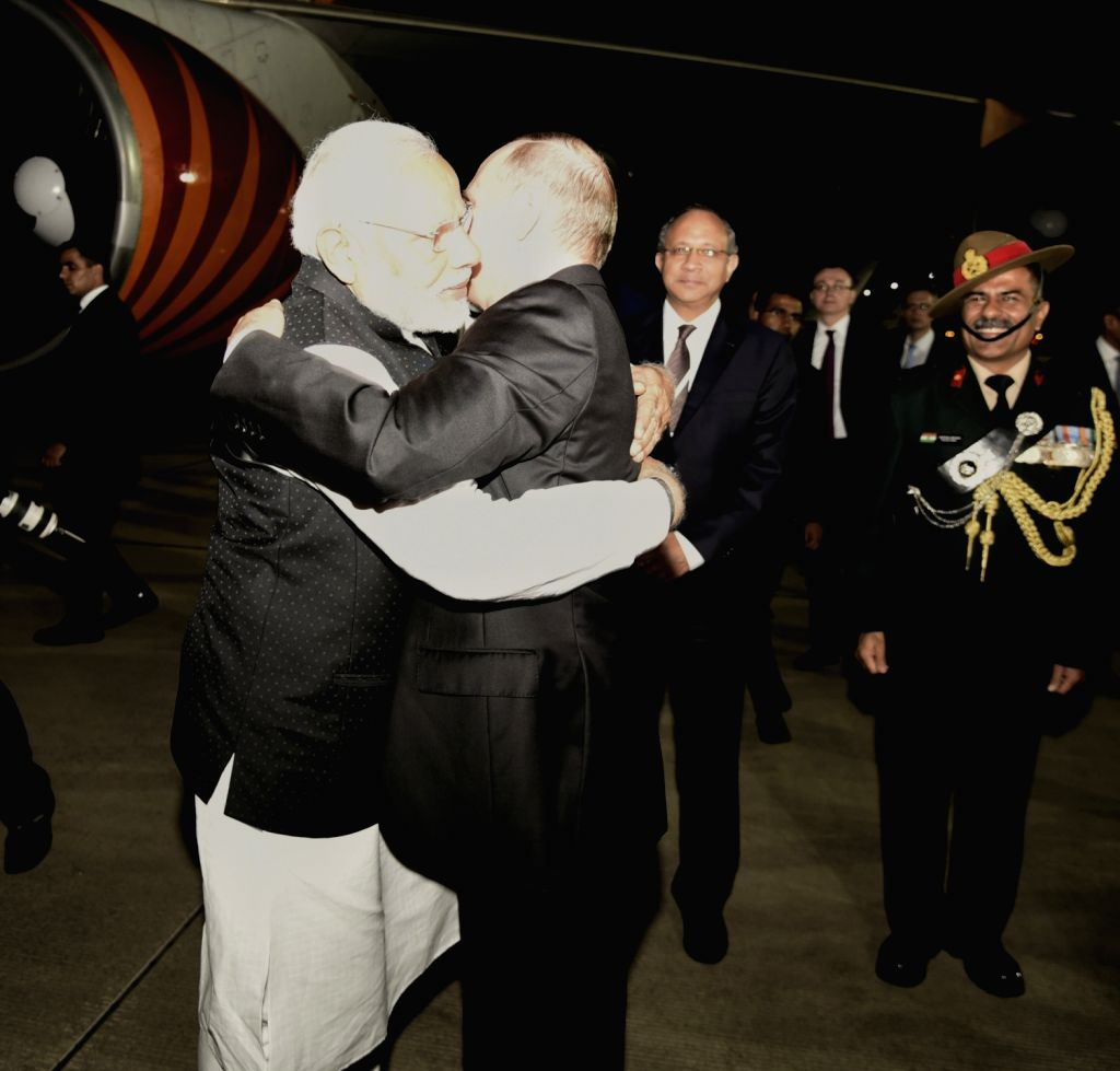 Russian President Vladimir Putin sees off Prime Minister Narendra Modi as he departs for India from Sochi after successful completion of his ​a ​day​ long​ visit to Russia, on May 21, ... - Narendra Modi