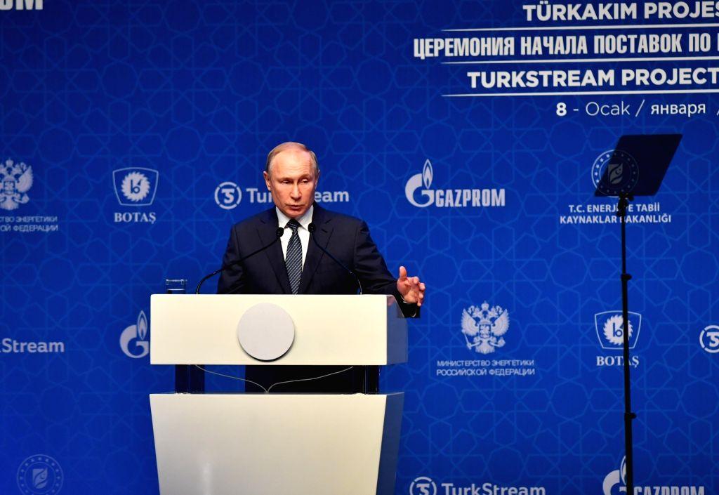 Russian President Vladimir Putin speaks at the inauguration ceremony of the TurkStream project in Istanbul, Turkey, Jan. 8, 2020. The TurkStream project will ...