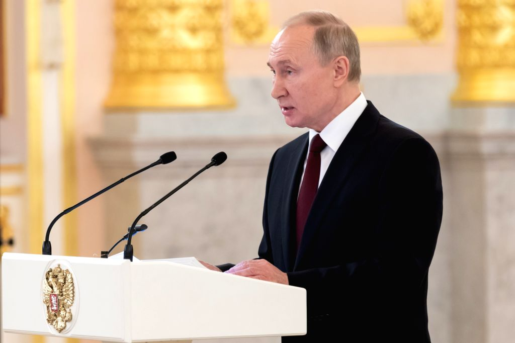"Russian President Vladimir Putin speaks at the ceremony of presenting credentials at the Kremlin in Moscow, Russia, Feb. 5, 2020. China is taking ""decisive and ..."