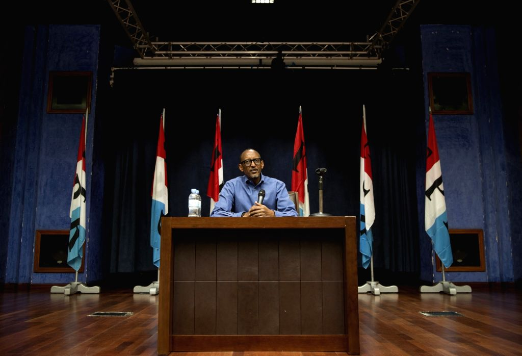 Rwanda President Paul Kagame addresses media at a press conference in Kigali, capital city of Rwanda, on June 22, 2017. Rwandan President Paul Kagame on Thursday submitted his nomination ...