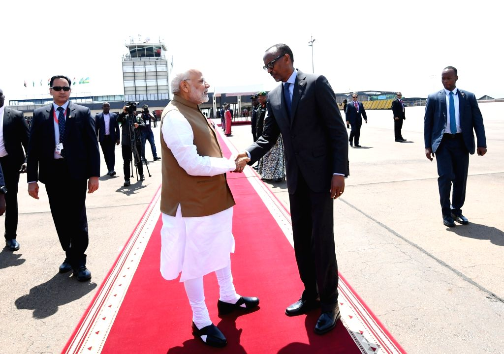 Rwanda President Paul Kagame sees off Prime Minister Narendra Modi as he departs from Kigali after successful completion of his state visit to Rwanda, on July 24, 2018. - Narendra Modi