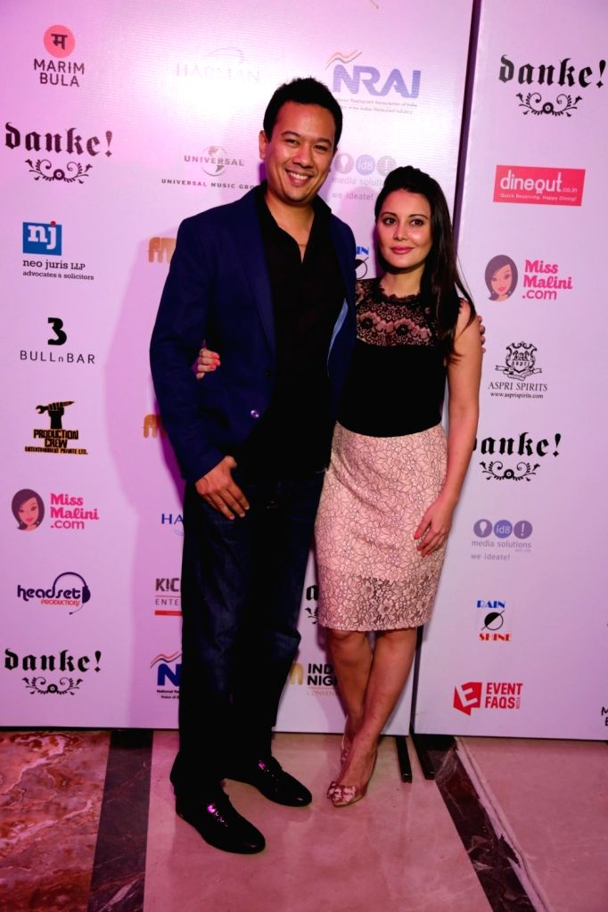 Ryan Tham, owner of Trilogy night club and his wife and actress Minissha Lamba during the India Nightlife Convention Awards in Mumbai on Sept 26, 2016. - Minissha Lamba