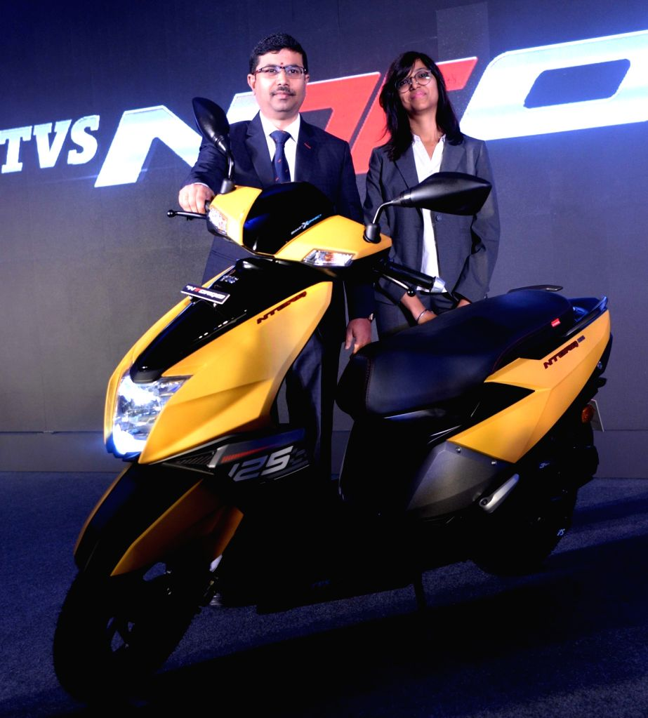"S Menthralayanivasan and Mani Goel of TVS Motor Company at the launch of ""TVS NTorq 125"" in Bengaluru, on Feb 14, 2018."
