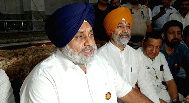 S. Sukhbir Singh Badal's reaction on Lakhimpur UP incident....Location Ludhiana Ram Darbar