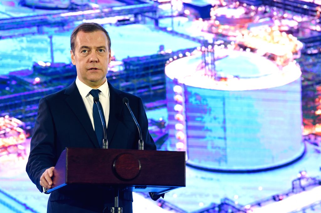 SABETTA, Dec. 12, 2018 - Russian Prime Minister Dmitry Medvedev speaks at a launching ceremony of the third production line of the Yamal liquefied natural gas (LNG) project in Sabetta, Russia, Dec. ... - Dmitry Medvedev