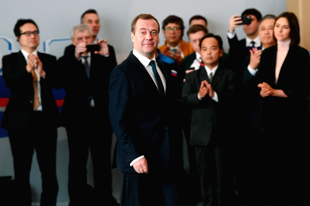 SABETTA, Dec. 12, 2018 - Russian Prime Minister Dmitry Medvedev (front) attends a launching ceremony of the third production line of the Yamal liquefied natural gas (LNG) project in Sabetta, Russia, ... - Dmitry Medvedev