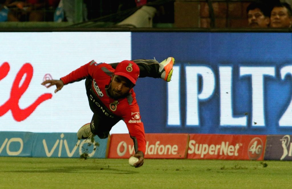 Sachin Baby of Royal Challengers Bangalore in action during an IPL 2017 match between Delhi Daredevils and Royal Challengers Bangalore at Feroz Shah Kotla Ground in New Delhi on May 14, ...