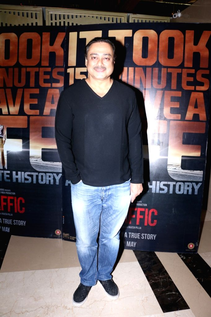 Sachin Khedekar during the screening of film Traffic in Mumbai on May 5, 2016.