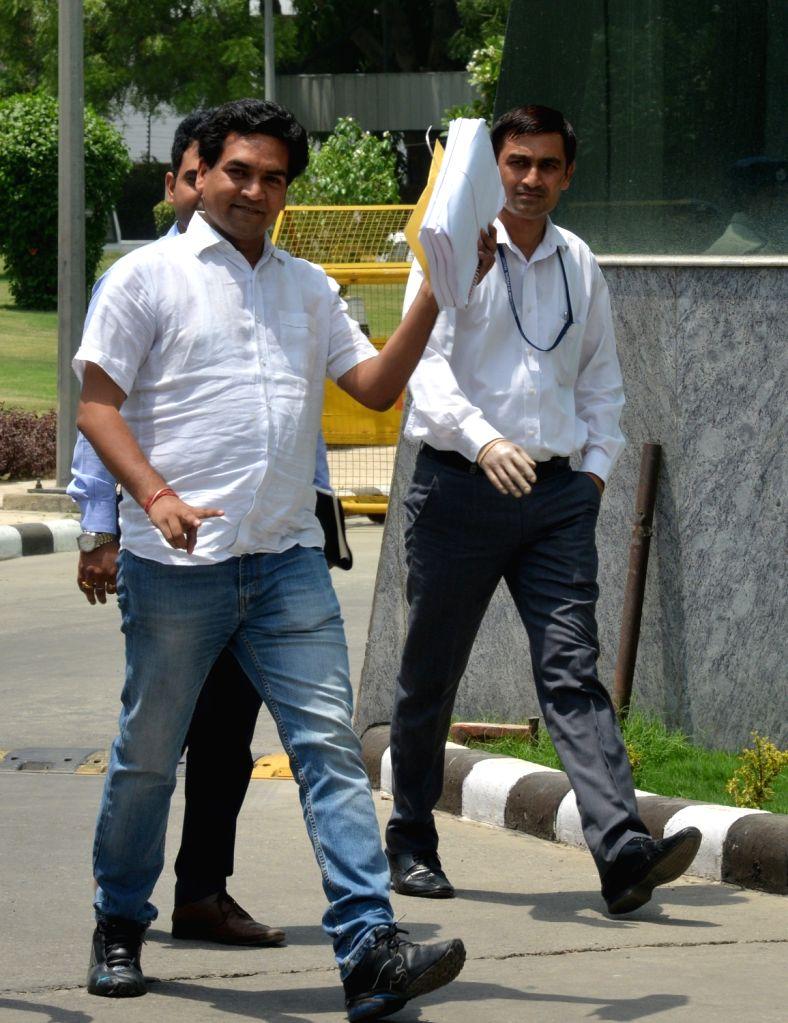 Sacked Delhi Minister Kapil Mishra at CBI office in New Delhi on May 16, 2017. - Kapil Mishra