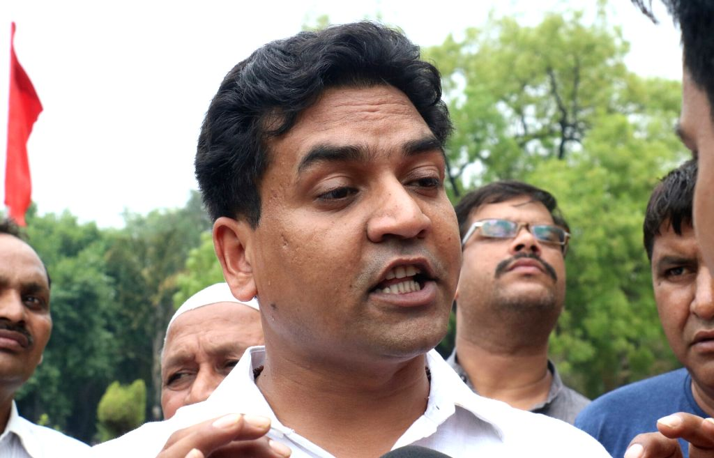 Sacked Delhi minister Kapil Mishra talks to press at Delhi Assembly on May 31, 2017. - Kapil Mishra