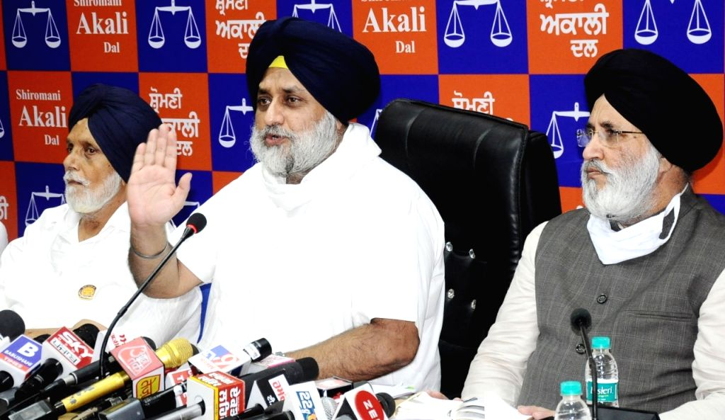 SAD President Sukhbir Singh Badal addressing an press conference in chandigarh on Saturday. - Sukhbir Singh Badal