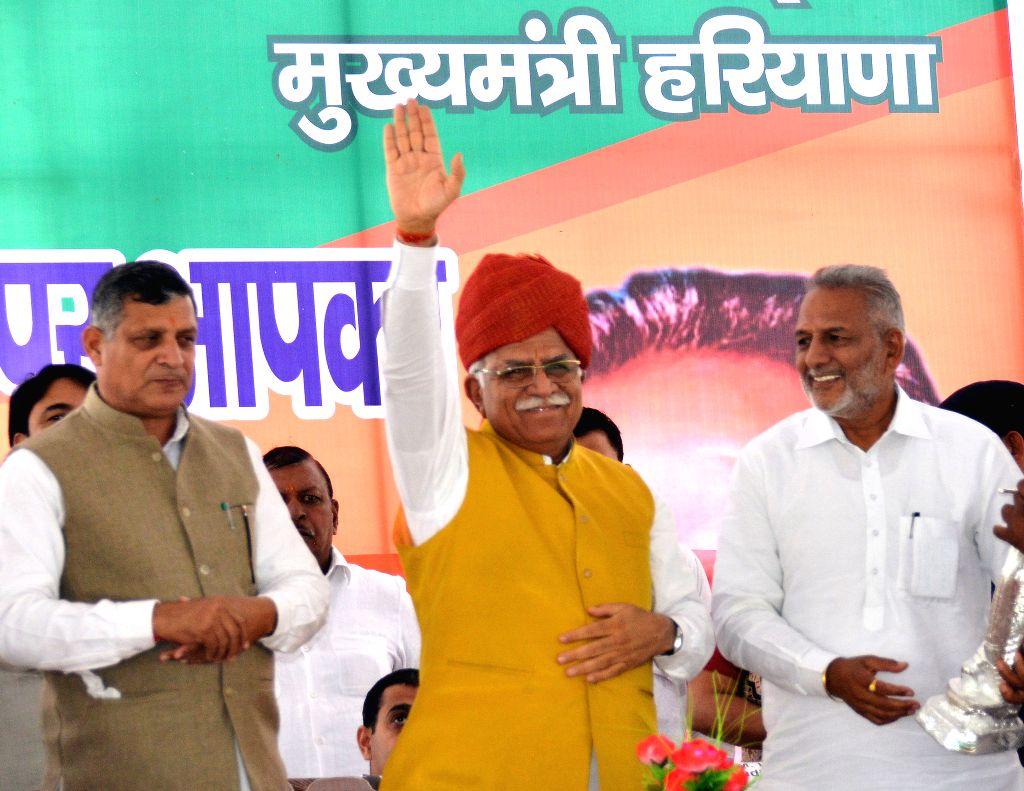 Haryana Chief Minister Manohar Lal Khattar during a public meeting in Sadaura of Haryana's Yamuna Nagar district on March 30, 2015. - Manohar Lal Khattar
