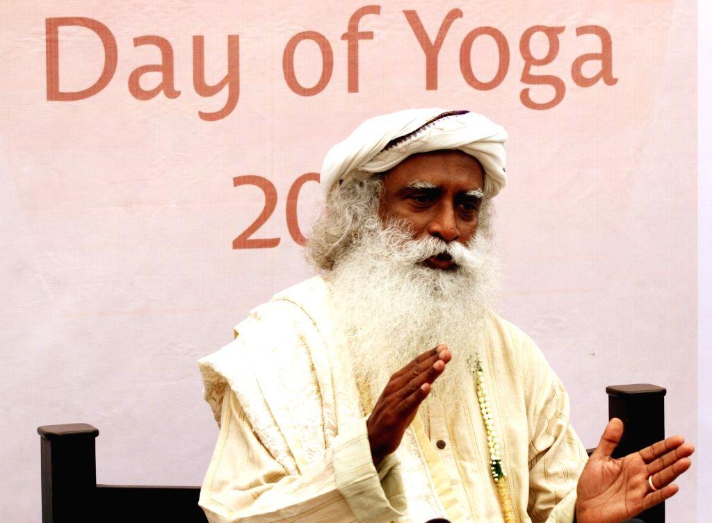 Sadhguru Jaggi Vasudev during a  yoga camp in Chennai on June 5, 2016.
