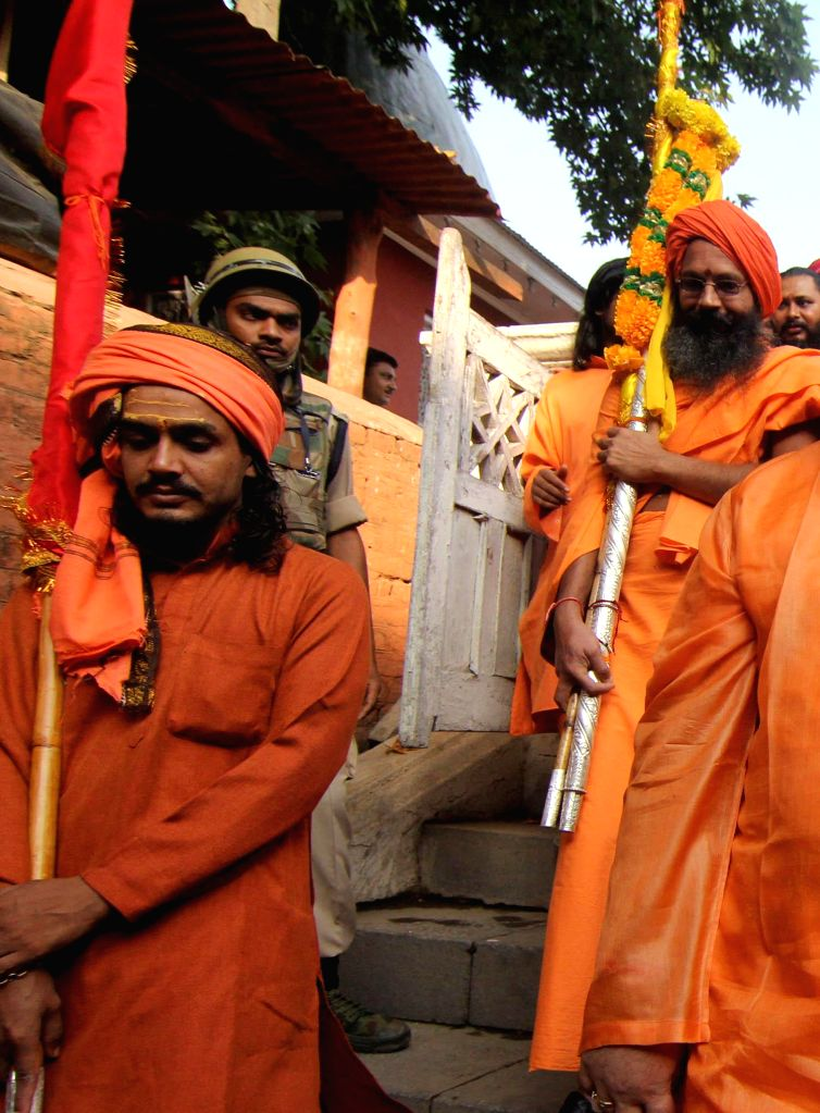 Sadhus leave for Amarnath from Srinagar with their traditional `Chahri Mubarak` on Aug 6, 2014.