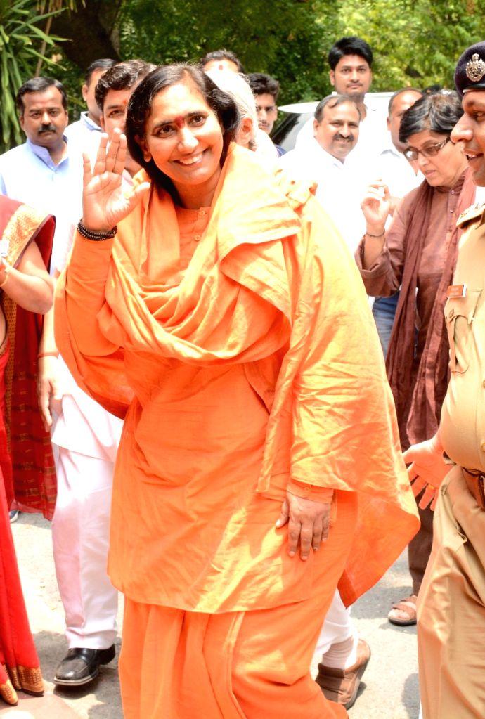 Sadhvi Rithambara at a Lucknow guest house on May 30, 2017.
