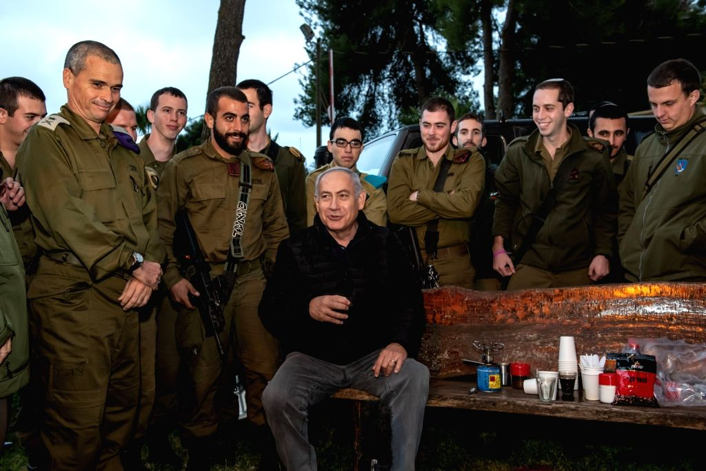 SAFED (ISRAEL), Dec. 11, 2018 Israeli Prime Minister Benjamin Netanyahu (C) is seen during a visit to the Northern Command Base in the northern Israeli town of Safed, on Dec. 11, 2018. ... - Benjamin Netanyahu