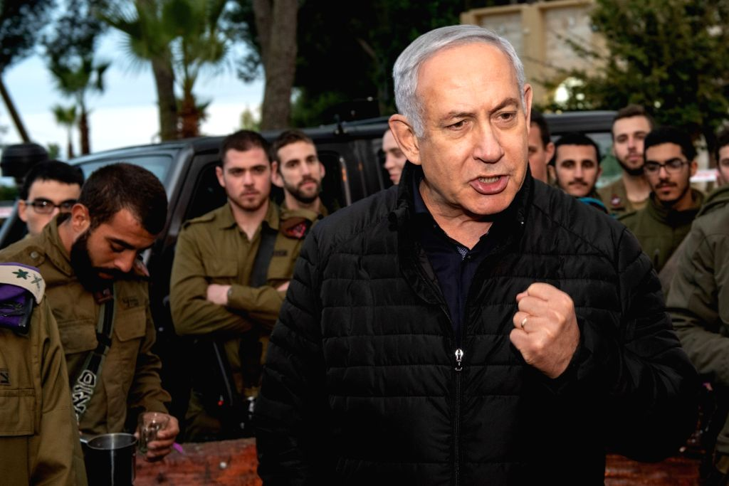 SAFED (ISRAEL), Dec. 11, 2018 Israeli Prime Minister Benjamin Netanyahu (Front) speaks during a visit to the Northern Command Base in the northern Israeli town of Safed, on Dec. 11, 2018. ... - Benjamin Netanyahu
