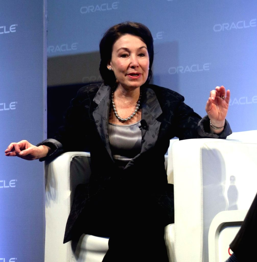 Safra Catz, Co-CEO of Oracle Corp at a panel discussion during Oracle Open World  2017 convention  in New Delhi on May 9, 2017.