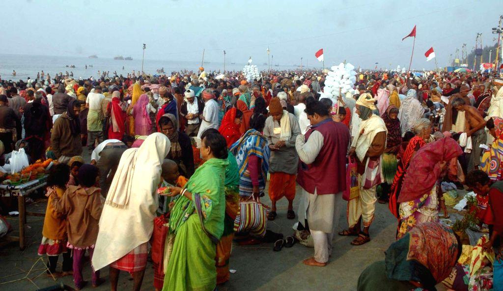 Sagar Island: People thong Gangasagar Mela on the eve of Makar Sankranti in Sagar Island, West Bengal on Jan 13, 2017.