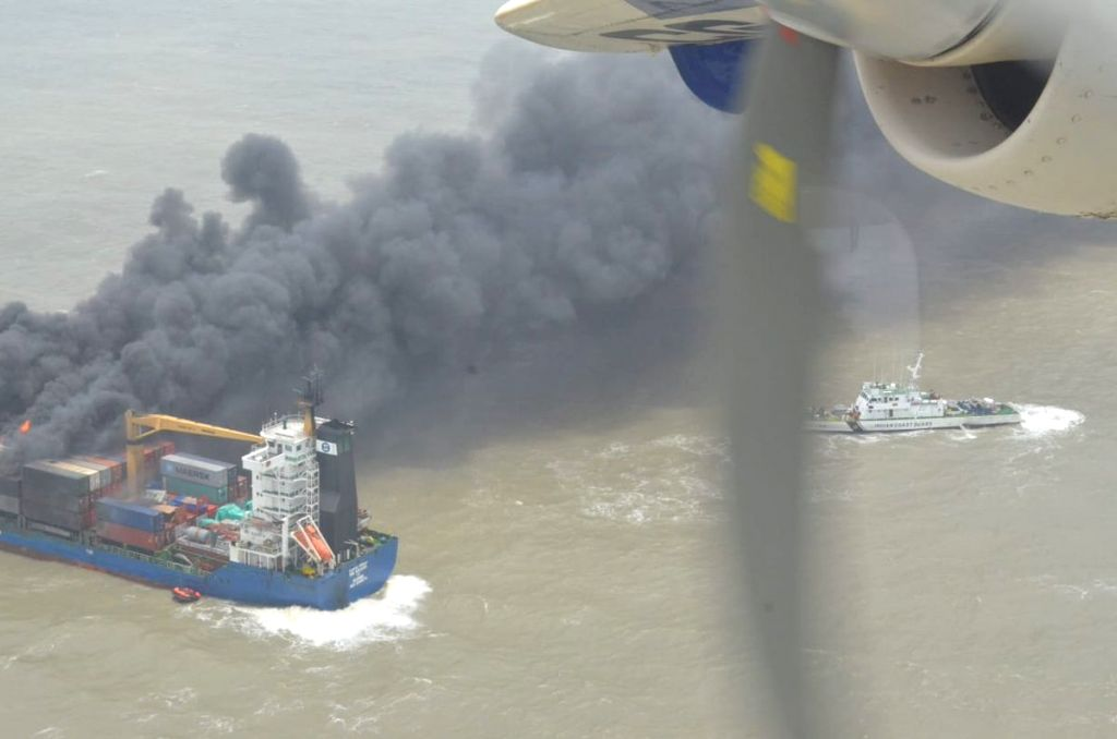 Sagar Island: The Indian Coast Guard carries out rescue operations after container vessel MV SSL Kolkata caught fire on Wednesday night, at West Bengal's Sagar island on June 14, 2018.