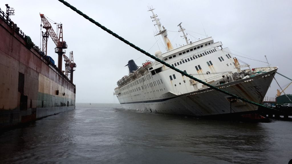 Sahara India's  ship MV QING that started tilting sideways in Vasco, Goa of on June 29, 2016.