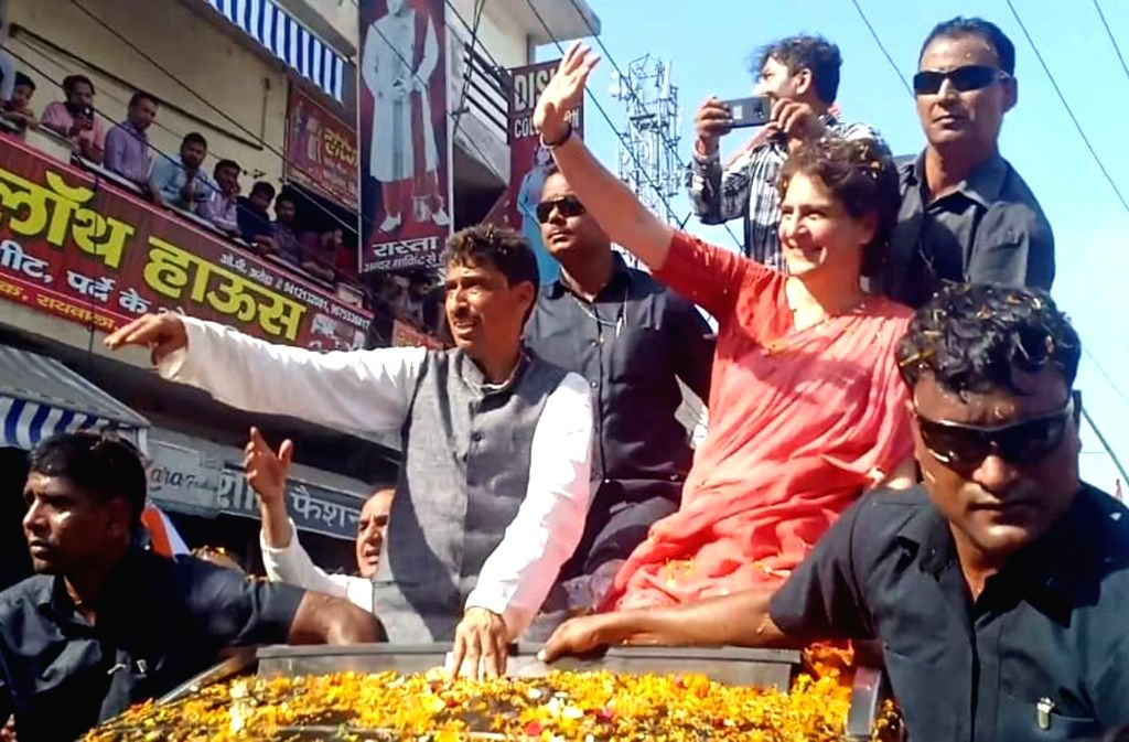 Saharanpur: Congress General Secretary (Uttar Pradesh East) Priyanka Gandhi during a roadshow ahead of 2019 Lok Sabha elections, in Uttar Pradesh's Saharanpur, on April 9, 2019. (Photo: IANS) - Priyanka Gandhi