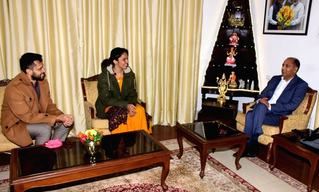 Saina Nehwal, a noted international badminton player along with her husband Arjuna Awardee international badminton player Parupalli Kashyap called on Himachal Pradesh Chief Minister Jai Ram ... - Jai Ram Thakur and Parupalli Kashyap