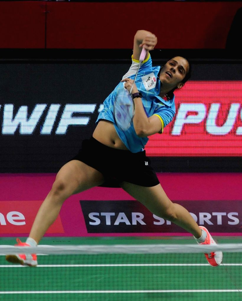 Saina Nehwal of Awadhe Warriors in action against PV Sindhu of Chennai Smashers during a Premier Badminton League 2017 match in New Delhi on Jan 11, 2017.