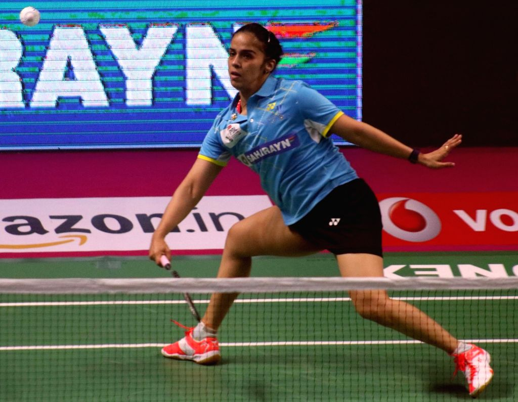 Saina Nehwal of Awadhe Warriors in action against PV Sindhu of Chennai Smashers during a Premier Badminton League 2017 match in New Delhi on Jan 13, 2017.