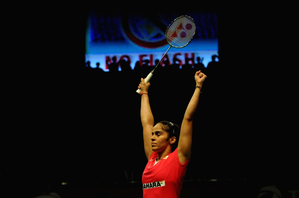 Saina Nehwal of India reacts after winning her women's singles semifinal match against Lindaweni Fanetri of Indonesia at the BWF World Championships 2015 in ...