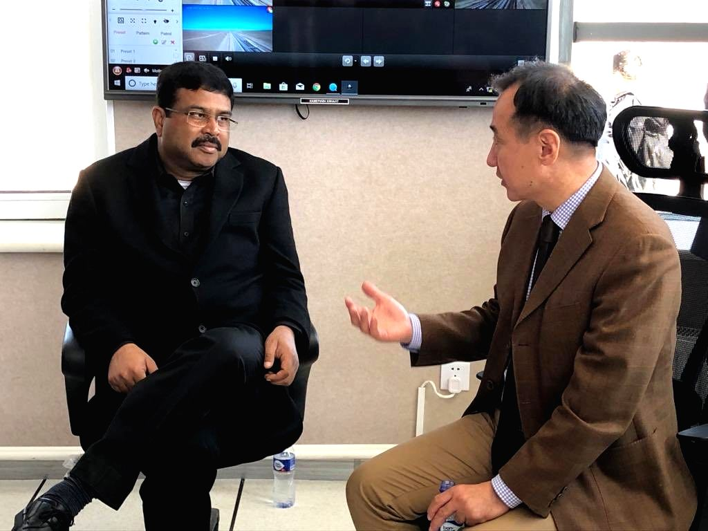 Sainshand : Union Petroleum and Natural Gas and Steel Minister Dharmendra Pradhan meets Mongolian Foreign Affairs Minister H.E. Damdin Tsogtbaatar in Sainshand, Mongolia on Oct 8, 2019. - Dharmendra Pradhan