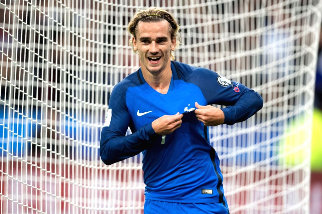 SAINT-Antoine Griezmann celebrates during the 2018 World Cup group A qualifying football match between France and Belarus at the Stade de France in Saint-Denis, ...