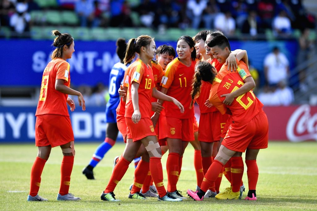 SAINT-Chinese players celebrate during the Group D match against Haiti at the 2018 FIFA U-20 Women's World Cup in Saint-Malo, France on Aug. 6, 2018. China won 2-1.