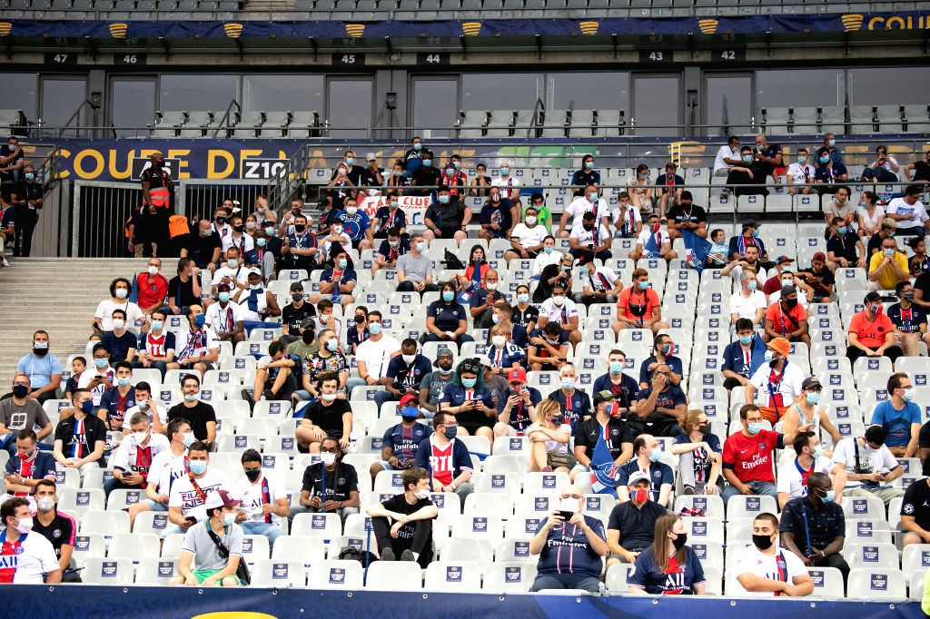 Saint-Fans are seen before the French League Cup final football match between Paris Saint-Germain and Olympique Lyonnais at the Stade de France in Saint-Denis, France, ...
